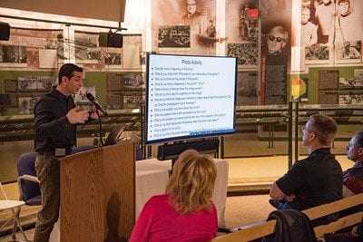Rob Gangi from East Brunswick High School presenting at the 2018 Interdisciplinary Forum